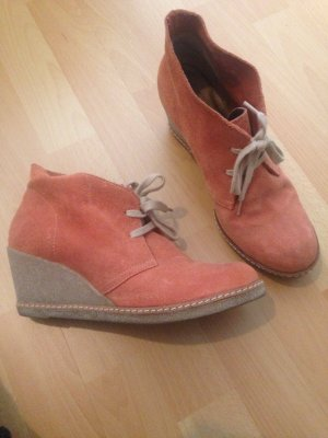 Orange Leder Wedges mit Keilabsatz