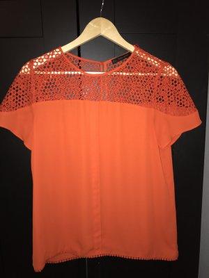 Orange/Rote Kurzarmbluse