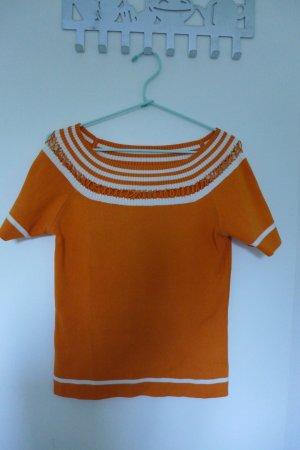 Top lavorato a maglia bianco-arancione Cotone