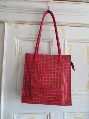 orange Vintage Quadrat Ledertasche Shopper Rot echtes Leder Mond Sterne grafische Muster Leder Handtasche Schultertasche