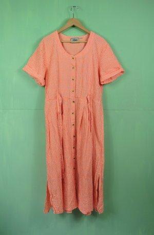 Orange Weiß Kariertes Kleid mit Knopfleiste und Bindebänder