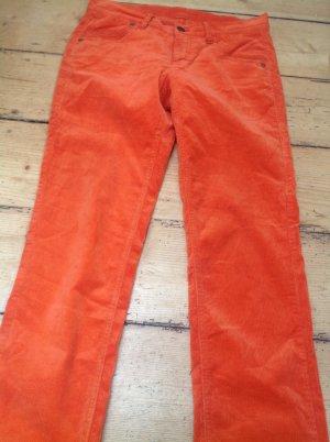Bogner Pantalone di velluto a coste arancio neon Tessuto misto