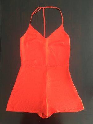 Orangefarbener Kurz Jumpsuit