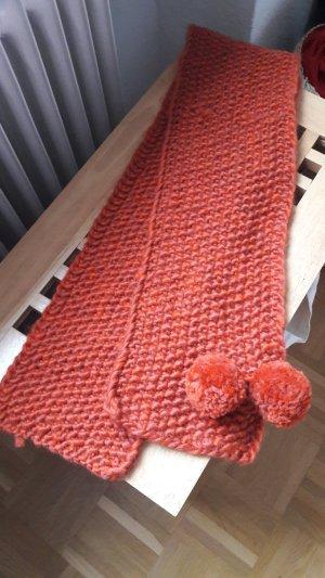 Bufanda de punto naranja oscuro-naranja neón Lana