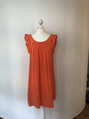 Orangefarbenes Kleid aus Seide, Gr. 36 (franz. 38)