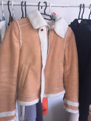 Orangene Jacke mit Fell H&m