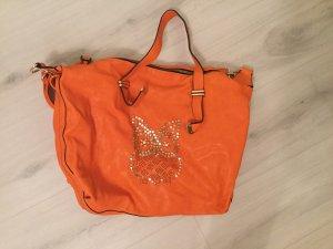 Orangene Tasche mit Eule