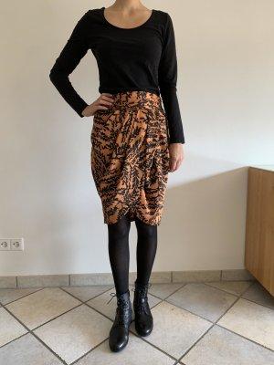 Zara Jupe taille haute orange-orange foncé