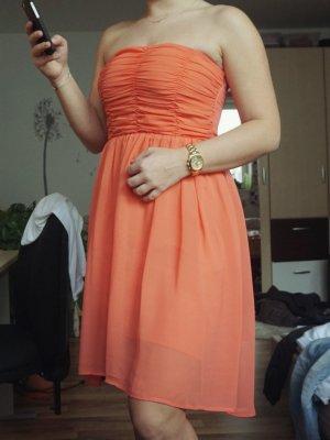 orangenes Chiffonkleid Bustier