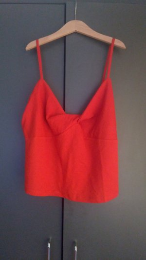Zara Top recortado naranja-naranja oscuro tejido mezclado