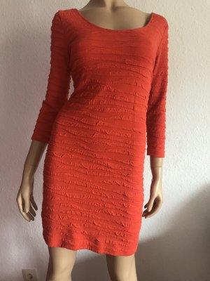 Orangenes Kleid Gr. M kurz Minikleid 3/4-Ärmel Stretchkleid eng Jerseykleid