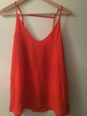 H&M Top cut out naranja neón