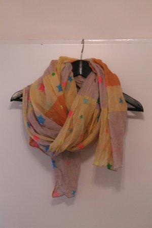 oranger, hellgelber (beiger) Schal mit bunten Sternen