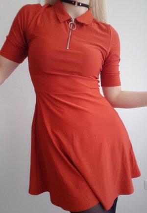 Orangerotes Kleid Gr XS / 34 mit Kragen und Reißverschluss