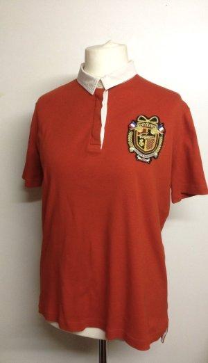 Orangerotes Poloshirt mit großem Vintage Logo in Größe 46