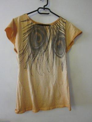 Oranges Shirt mit Federn - Print Benetton