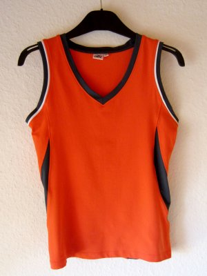 Oranges Sport-Top mit Colourblock-Details