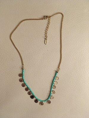 ORELIA Halskette, Kette mit kleinen Münzanhängern und Türkisen, vergoldet, Boho