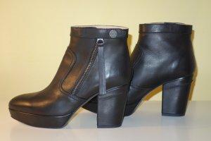 Org. ACNE Plateau Ankle Booties in schwarz seitliche Reissverschlüsse Gr.39