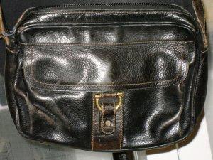 Org. AIGNER vintage Leder-Umhängetasche schwarz-braun