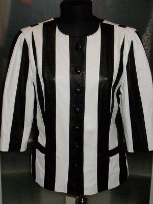 Org. ALBA MODA vintage Lederjacke/Blazer in schwarz-weiss
