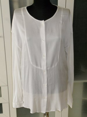 Org. ALLUDE Bluse mit Materialmix Seide/Baumwolle Gr.L