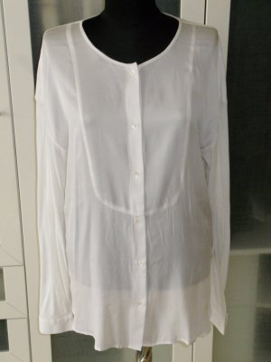 Org. ALLUDE Shirt-Bluse weiss Seide/Baumwolle Gr.L