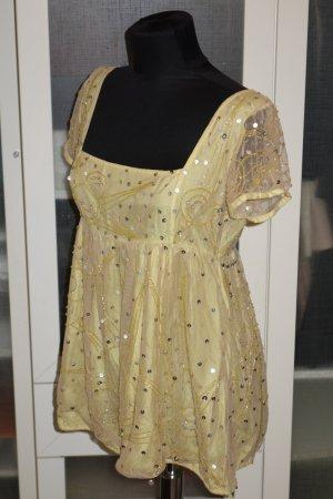 Org. ANTIK BATIK Babydoll Bluse mit Pailletten in gelb Gr.M