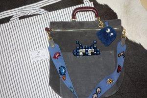 Org. ANYA HINDMARCH Orsett Space Invader Schultertasche aus Veloursleder NEU+Dustbag