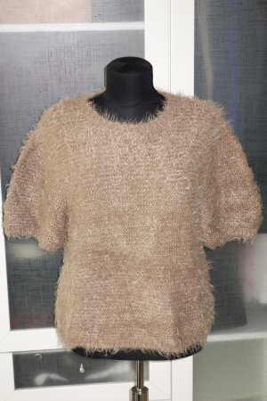 Short Sleeve Sweater sand brown-gold-colored