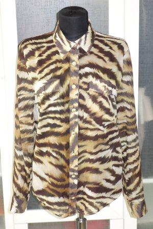 Org. BALMAIN Bluse im Animallook mit goldenen Knöpfen Gr.38