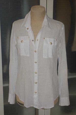 Org. BALMAIN Bluse im army Stil weiß mit goldenen Knöpfen Gr.38