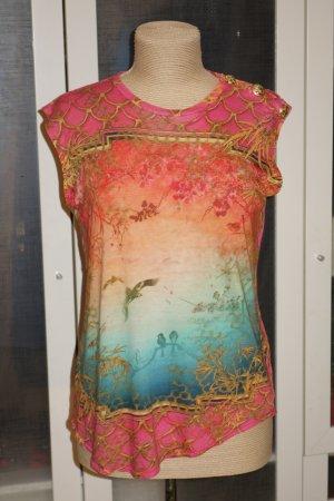 Org. BALMAIN multicolour distressed Print Shirt mit goldenen Knöpfen Gr.34