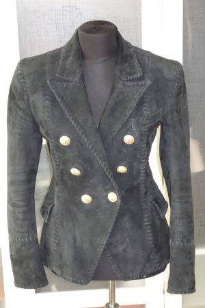 Balmain Blazer de cuero negro Gamuza