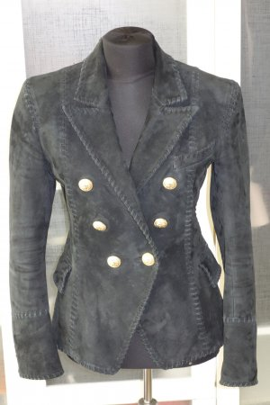 Balmain Blazer en cuir noir daim