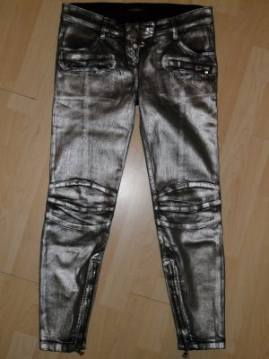 Org. BALMAIN Runway waxed Biker Jeans silver sold out