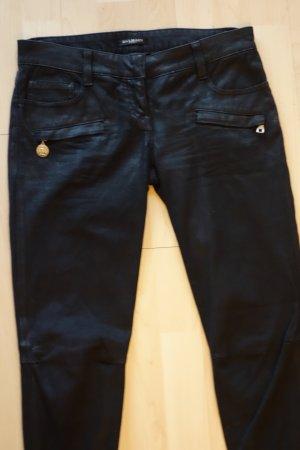 Org. BALMAIN Runway waxed Biker skinny Jeans in schwarz Gr.36