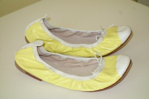 Bloch Patent Leather Ballerinas neon yellow-natural white leather