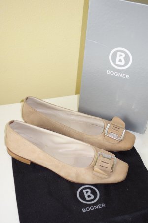 Org. BOGNER Slipper in beige Wildleder Gr.39 inkl. Karton+Dustbag