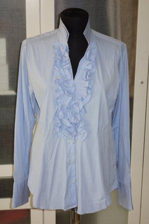 Org. CALIBAN Bluse mit Rüschen Gr.42 hellblau