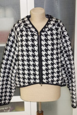 Hoody black-white cashmere