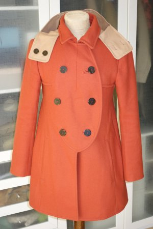 Carven Heavy Pea Coat dark orange wool