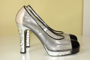 Org. CHANEL Runway Plateau Pumps limitiert Gr.39 PVC transparent