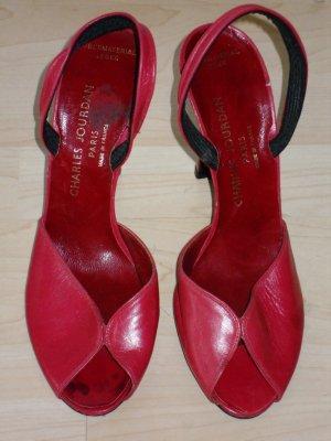 Org. CHARLES JOURDAN Paris vintage Sandaletten rot Gr.8,5