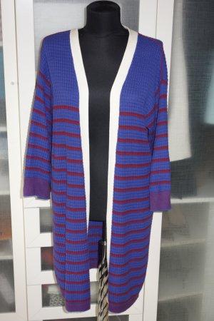 Org. CHIARA BERTANI long Strickjacke mit Querstreifen violett Gr.M