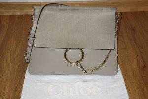 Org. CHLOE Faye medium Schultertasche aus Leder und Veloursleder in grau inkl. Dustbag und Etiketten