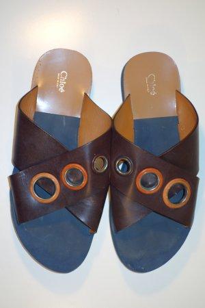 Org. CHLOE Sandalen mit Metallösen Leder/Kunststoff Gr.40