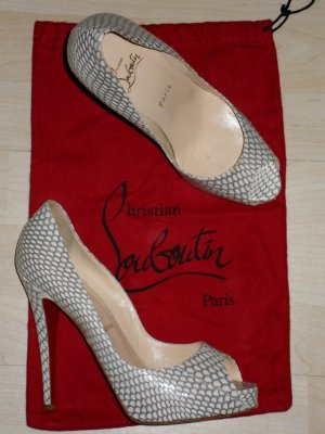 Org. CHRISTIAN LOUBOUTIN Very Prive Plateau Peeptoes Echsenleder sold out