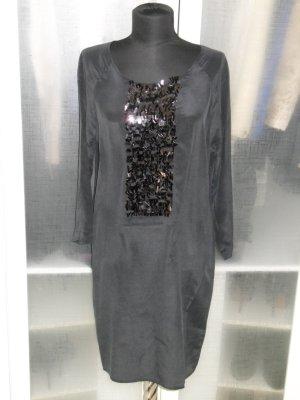 Org. CUSTOMMADE Seidenkleid mit Pailletten schwarz Gr.40 NEU