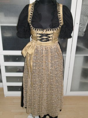 Org. DAVID MOORE Country Life Couture Dirndl gold inkl. Bluse Paillettenschürze